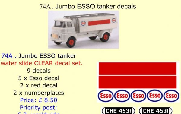 74A . Tri-ang Jumbo ESSO tanker decals
